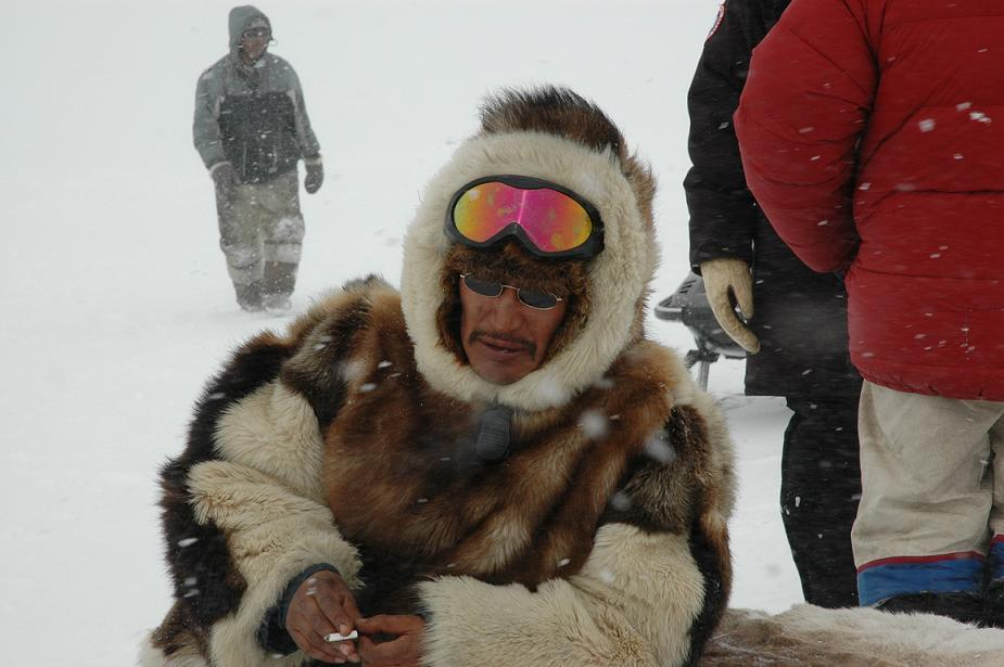 Nunavut filmmaker Zacharias Kunuk on shoot for The Journals of Knud Rasmussen. Image courtesy of Isuma Productions. Photo by Oana Spinu.