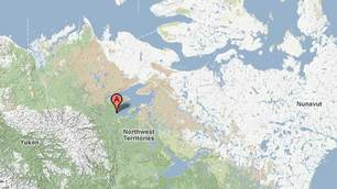 Location of Déline, NWT. CBC.