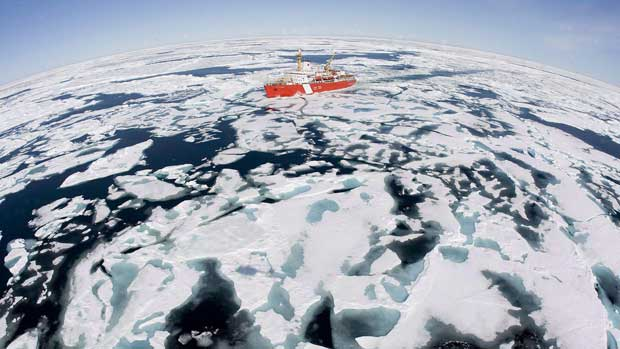 The Canadian Coast Guard icebreaker Louis S. St-Laurent makes its way through the ice in Baffin Bay in July 2008. Arctic waterways are increasingly becoming ice-free, opening them up to more marine traffic in recent years.