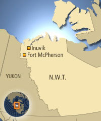 Fort McPherson, N.W.T., is 1,100 kilometres northwest of Yellowknife and about 110 kilometres south of Inuvik. (CBC)