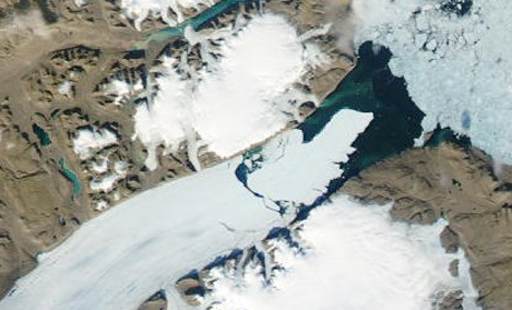 This U.S. National Aeronautics and Space Administration map shows a large piece of Greenland's Petermann Glacier breaking away on Aug. 5. (Courtesy NASA)