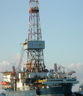 The Frontier Discoverer drillship is shown at Dutch Harbor, Alaska, in this 2007 photo provided by Shell Exploration & Production Company. Shell has invested about $3.5 billion US since 2005 on preparing to explore for oil off Alaska's north shore. (Shell Exploration & Production/Associated Press)
