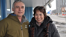 Jimmy Stotts, left, with his wife Karoline in Nuuk, Greenland, on Monday. Stotts, who is president of the Inuit Circumpolar Council in Alaska, said his group wants more decision-making powers within the Arctic Council. (Patricia Bell/CBC)