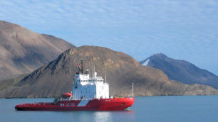 The coast guard icebreaker Terry Fox sits in the waters of Lancaster Sound, Nunavut, at the eastern end of the Northwest Passage in August 2006. (Bob Weber/Canadian Press)