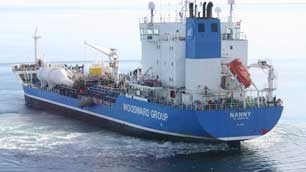 The Merchant Vessel Nanny, seen in this Sept. 1 aerial photograph, was dislodged from a sandbar on Wednesday following a two-day operation to lighten its diesel cargo load. (Canadian Coast Guard)