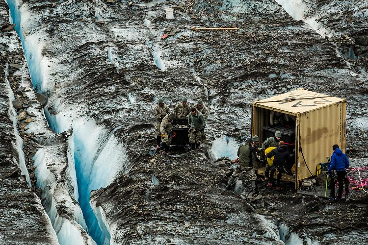 Military personnel recovering the remains of a C-124 airplane that crashed on Colony glacier in 1952. July 12, 2012. Photo: Loren Holmes. Alaska Dispatch.