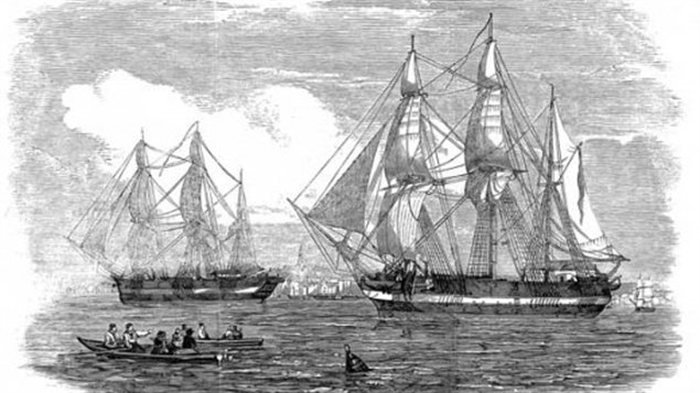 HMS Erebus and HMS Terror, shown in the Illustrated London News published on May 24, 1845, left England that year under the command of Sir John Franklin and in the search of the Northwest Passage. (Illustrated London News/Getty Images)