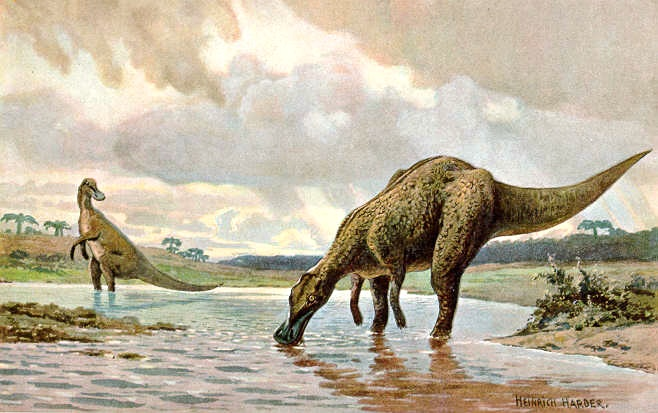 This 1916 painting by the German artist Heinrich Harder depicts a Hadrosaur. From a set of 30 paintings entitled