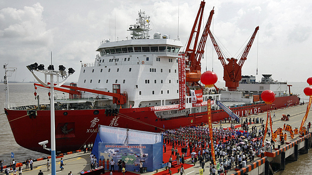 The Chinese icebreaker Xuelong, or Snow Dragon, docked Thursday in Shanghai, after an 85-day scientific quest across the Arctic Ocean. (Pei Xin, Xinhua/Associated Press)