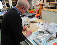 Doug Stenton catalogues artifacts found on King William Island in the lab on the Canadian Coast Guard icebreaker Sir Wilfrid Laurier. (Brian Case)