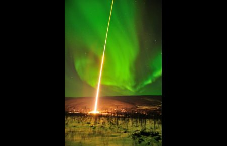 A NASA-funded collaborative research team launched a rocket Feb. 18 from Alaska's Poker Flat Research Range to collect data from the heart of the aurora some 202 miles above Earth.Photo: Mark Conde, University of Alaska Fairbanks. Alaska Dispatch.