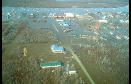 The inundated village of Kwethluk, on the Kuskokwim river, photographed May 14, 2012. Photo; George Coyle, State of Alaska. Alaska Dispatch
