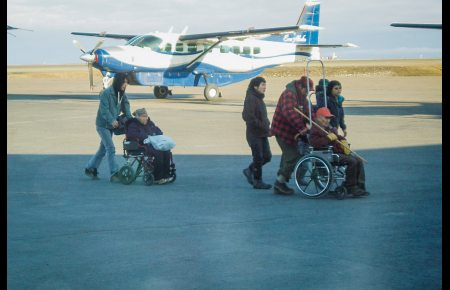 Residents of Kwethluk arrive at the Bethel airport on May 13, 2012. Photo: George Coyle, State of Alaska. Alaska Dispatch
