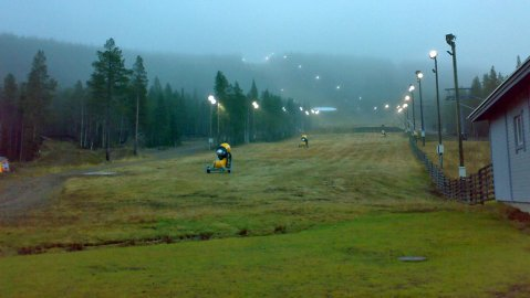 Levi's black run was still green on Thursday morning. Photo by Pia Tuukkanen, YLE.