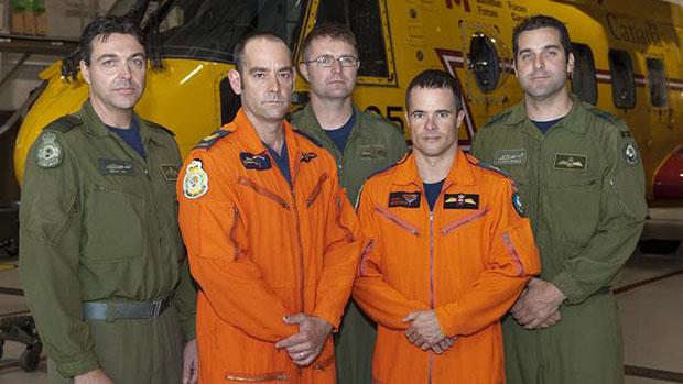 2012 Cormorant Trophy Winners (left to right): Captain Dean Vey (co-pilot), Sergeant Daniel Villeneuve (SAR Tech team lead), Sergeant Brad Hiscock (flight engineer), Master Corporal Shawn Bretschneider (SAR Tech team member) and Captain Aaron Noble (aircraft commander). (Canadian Forces)