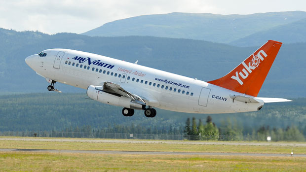 An Air North 737 takes off from the Whitehorse Airport. Flight attendants at Yukon's Air North have organized themselves into a bargaining unit with the Public Service Alliance of Canada and are looking for a new deal from their employer. (Air North)