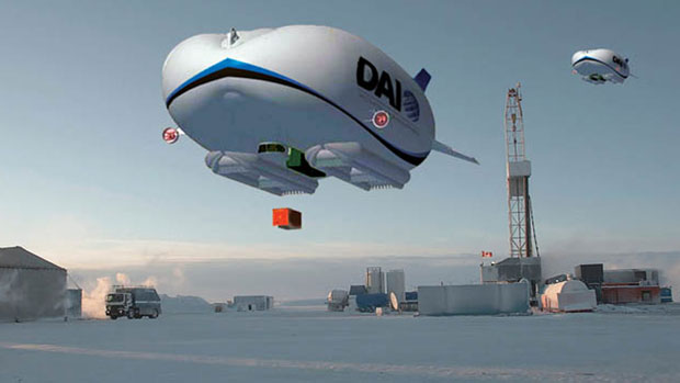 An artist's rendition of what an airship designed to fly in the Arctic would look like. The House of Commons transportation committee recommends in a recently released report launching a pilot project to test airships for remote communities. (Discovery Air Innovations)