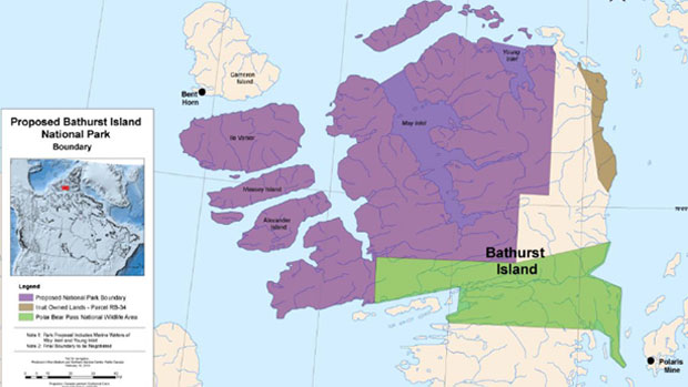 The proposed park boundaries are shaded in purple, the brown shading is Inuit-owned land and the green area is the Polar Bear Pass National Wildlife Area. (Parks Canada Map)