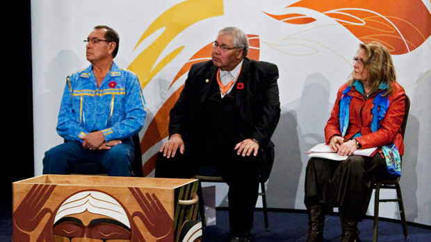 Commissioners Chief Wilton Littlechild, Justice Murray Sinclair and Marie Wilson, left to right, listen to testimonials as the Truth and Reconciliation Commission holds its third round of national hearings in Halifax on Oct. 29, 2011. (Canadian Press)