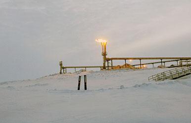 A gas flare at ConocoPhillips Alaska's Alpine field. Courtesy photo. Alaska Dispatch.