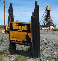 Located just outside Yellowknife, Giant Mine produced more than seven million ounces of gold from 1948 until 1999. The federal government is responsible for cleaning up contamination at the mine site. Image CBC.