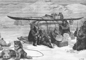 This engraving depicts the search party led by Frederick Schwatka, who set out in search of evidence of the Franklin expedition in 1879. (Edward Gooch/Hulton Archive/Getty)