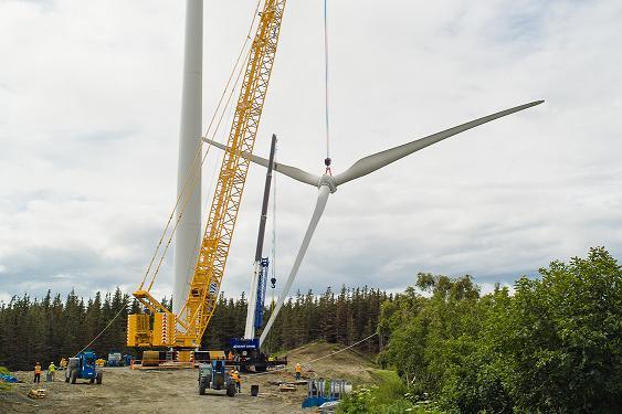 Hub and rotor installation at Tower 1 of the Fire Island Wind Project July 13, 2012. Photo courtesy CIRI/ Oscar Avellaneda-Cruz