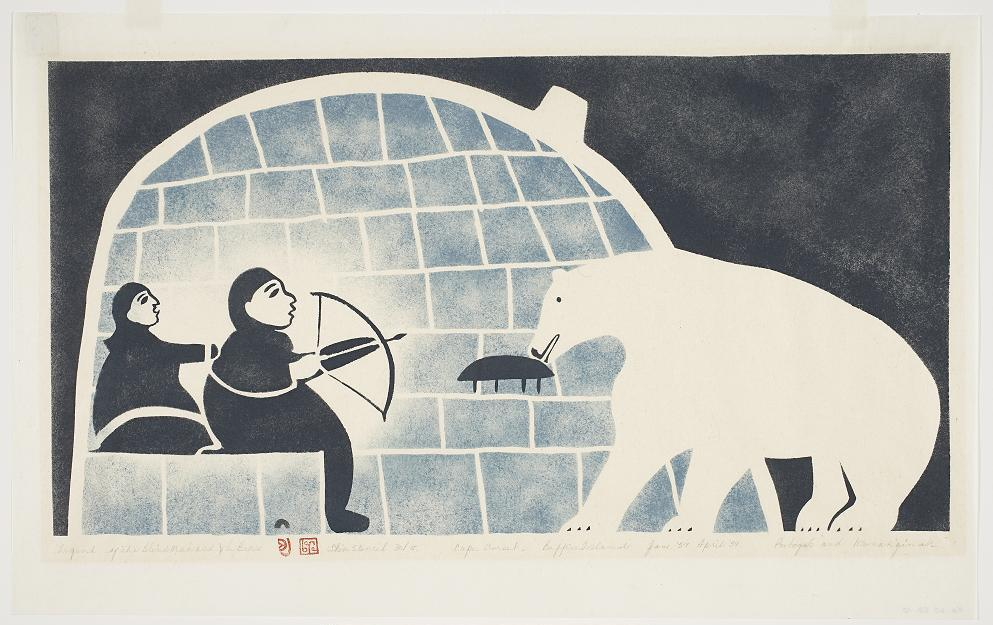 Legend of the Blind Man and the Bear by Joseph Pootoogook (1959). Image courtesy of Dorset Fine Arts. CLICK TO VIEW FULL IMAGE