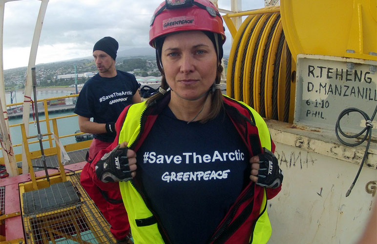 'Xena' star Luch Lawless wants to stop shell's Arctic drilling plans. Photo: Greenpeace New Zealand