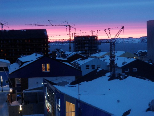 Cranes in downtown Nuuk.
