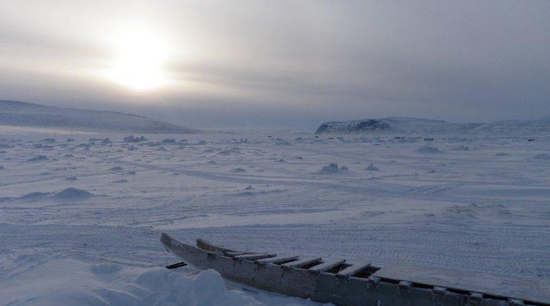 Sea ice at dusk in Clyde River, Nunavut. Photo Eilís Quinn.