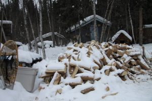 It takes a lot of wood to heat a house in the NWT's sub-Arctic winters, especially if you're not connected to the power network.