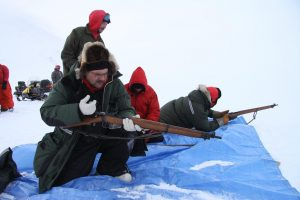 Canadian Rangers practice shooting their rifles. Photo by Levon Sevunts.