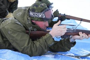A Canadian soldier reloads his Lee Enfield rifle. Photo by Levon Sevunts.