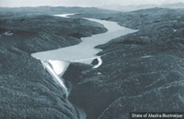 An illustration of the what the Susitna Dam may look like, if ever built. The proposed project received $95.2 million in Alaska's capital budget, which totaled $2.2 billion, down nearly $1 billion from the previous year. (State of Alaska illustration / Alaska Dispatch)