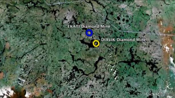Location of the Ekati diamond mind in Canada's Northwest Territories. (CBC)