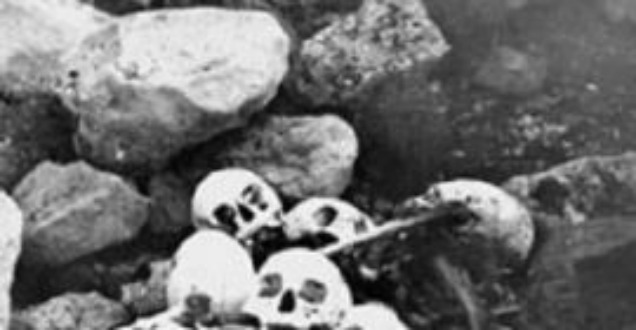 Skulls of members of the Franklin expedition were discovered by William Skinner and Paddy Gibson in 1945 at King William Island in Nunavut. While remnants of Franklin's doomed 1845 Arctic expedition have been found, the British explorer's grave has yet to be located. (National Archives of Canada/Canadian Press)