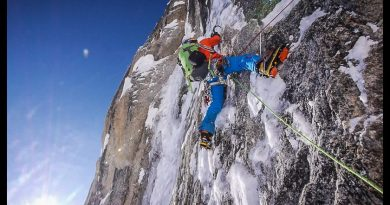"""David Lama climbs up the Moose's Tooth in the first ascent of """"Bird of Prey."""" April 13, 2013 (Dani Arnold / Red Bull / Alaska Dispatch)"""