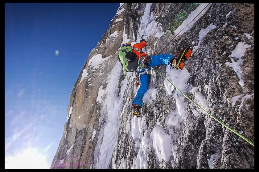 David Lama climbs up the Moose's Tooth in the first ascent of