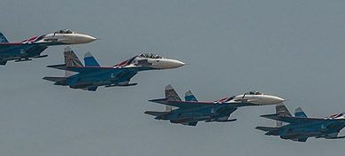 Russian Su-27 bombers took part in the exercise. (Philippe Lopez/Scanpix/Radio Sweden)