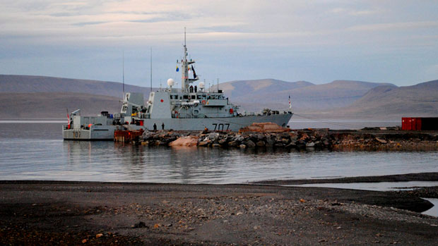The HMCS Goose Bay is moored at the future site of the Nanisivik Naval Facility during the 2010 military Operation Nanook. Northern Development Minister Bernard Valcourt is asking the military to clarify parts of the proposal for the facility and then re-submit it to Nunavut regulators for review. (The Canadian Press)