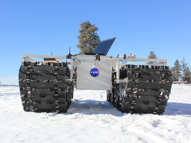 A prototype of GROVER, minus its solar panels, was tested in January 2012 at a ski resort in Idaho. The laptop in the picture is for testing purposes only and is not mounted on the final prototype. (Gabriel Trisca, Boise State University, NASA)