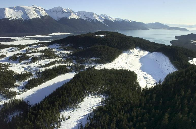 In this Feb. 1, 2007 picture, snow covers Lower Slate Lake, right, in the Tongass National Forest. (Michael Penn / The Juneau Empire / AP Photo )