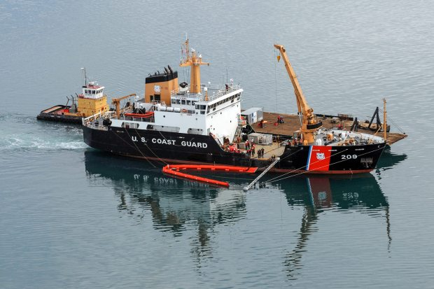 Coast Guard Cutter Sycamore crewmembers test the vessel's Spilled Oil Recovery System (SORS) near Barrow, Alaska. July 31, 2012. (Kelly Parker / USCG)