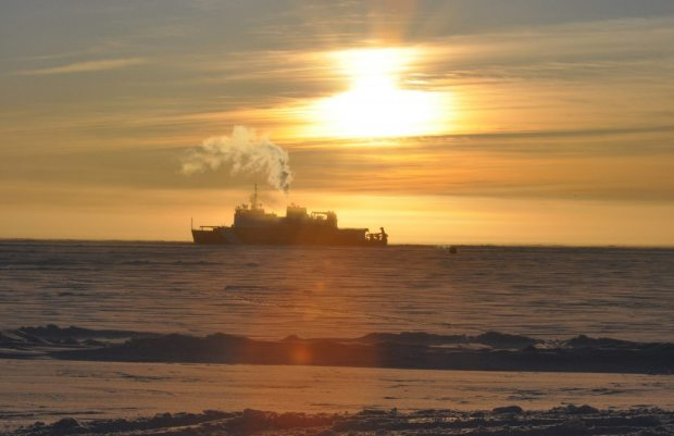 The US Coast Guard Cutter Healy off the coast of Nome. (David Head,  courtesy Alaska Dispatch)