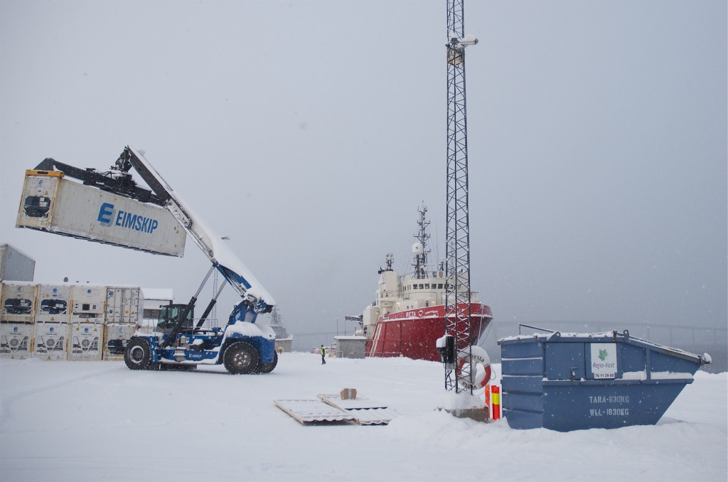 Eimskip containers being loaded in northern Norway, January 2013. (Mia Bennett)