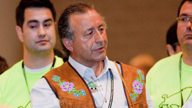 Bill Erasmus speaks at the Assembly of First Nations election in July 2012. Erasmus signed a statement on behalf of Canada's Dene Nation calling for an end to Arctic offshore drilling and a pause in northern energy projects unless local aboriginals consent. (The Canadian Press)
