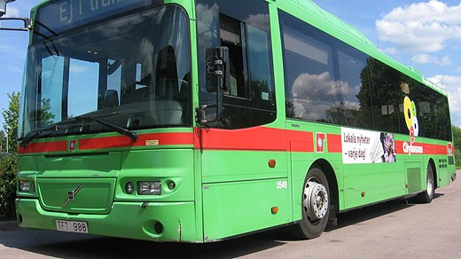 Beer residues will become biogas to run this Eskilstuna bus, (Petra Levinson / Sveriges Radio)
