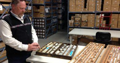Fort Knox gold mine core samples at the Geologic Materials Center in Eagle River. June 7, 2013. (Sean Doogan / Alaska Dispatch)