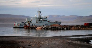 "The HMCS Goose Bay is moored at the future site of the Nanisivik Naval Facility during the 2010 military Operation Nanook. The federal government recently issued a ""Request for Qualifications"" — the first step in the tendering process. (Canadian Press)"